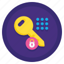 coworking, key, protection, security icon