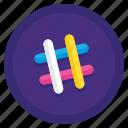 channel, coworking, hash, slack icon