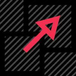 arrow, expand, point icon