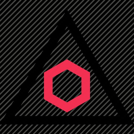 hexagon, triangle, up icon