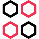 abstract, four, hexagons icon