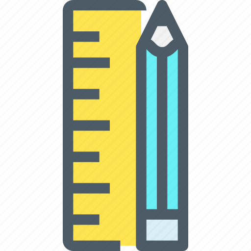 art, creative, education, office, pencil, ruler, school icon