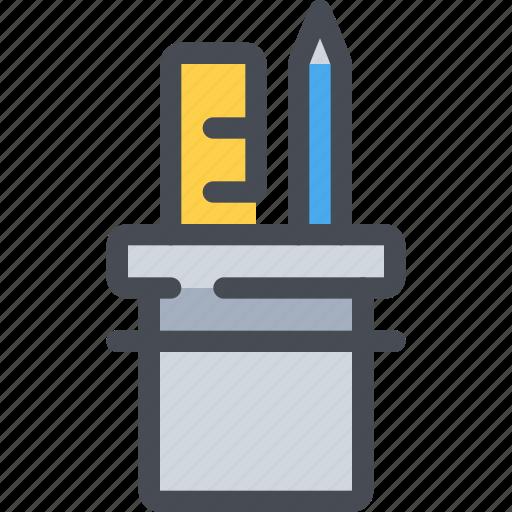 creativity, education, pen, pencil, ruler, tool icon