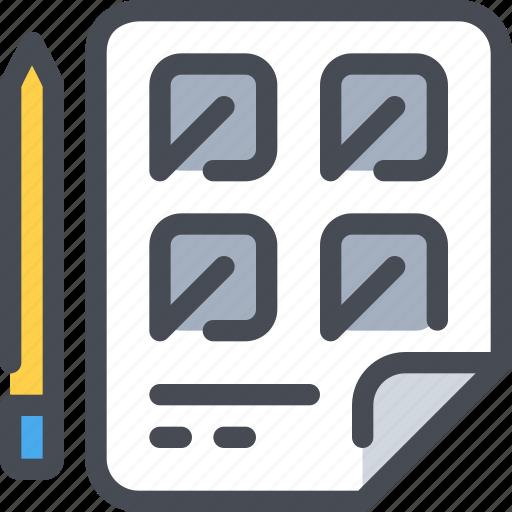 content, creativity, document, file, pen icon