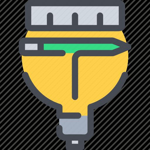 creative, creativity, design, idea, light, pencil icon