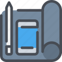 development, pen, planning, smartphone, ui, workflow icon
