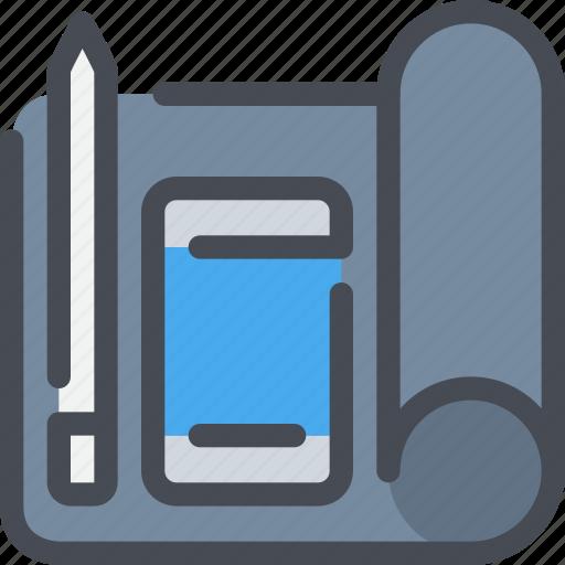 development, pen, planning, smartphone, ui, workflow icon