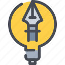 creative, creativity, design, idea, light, pen icon