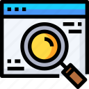 development, find, glass, magnifier, magnifying, search, web icon