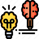 creative, creativity, design, idea, light, thinking icon