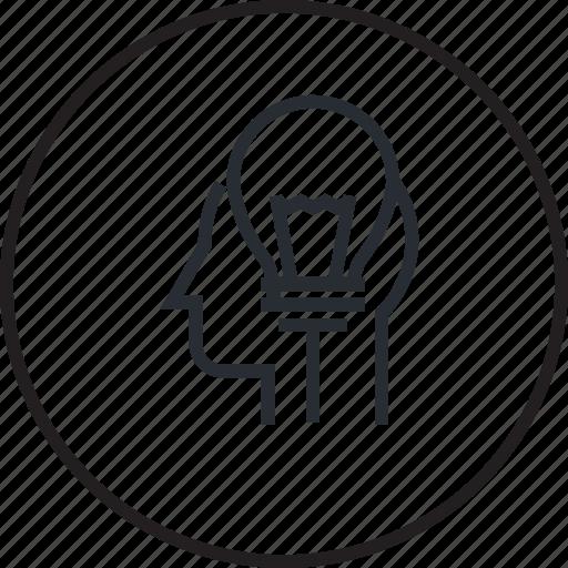 brainstorming, concept, creative, head, idea, inspiration, line icon