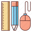 design, design tools, mouse, pc mouse, pencil, ruler, tools icon
