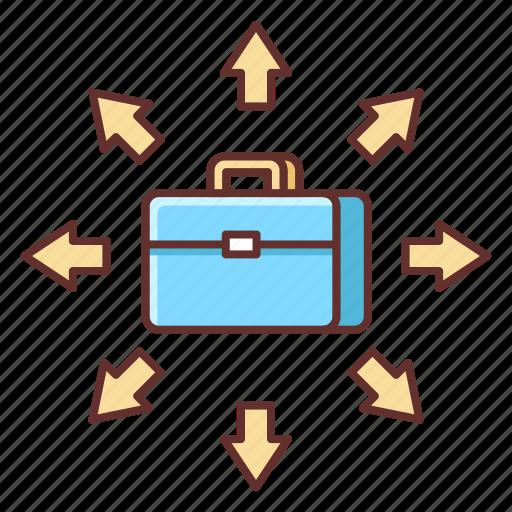 briefcase, career, development, freelance, growth, suitcase icon