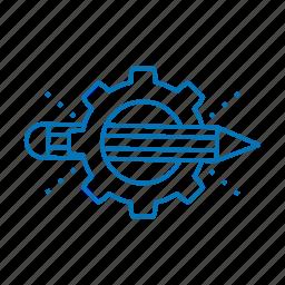 creative, gear, pencil icon