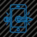 creative, pencil, phone, smart icon