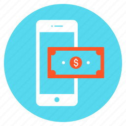 cash, dollar, mobile, money, payment, shopping icon