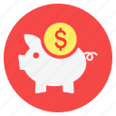 bank, dollar, finance, investment, piggy bank, savings