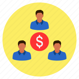 business, cash, dollar, finance, group, income, team icon