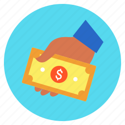 cash, dollar, finance, hand, income, investment, money icon