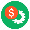 cash, currency, dollar, finance, money, settings, wheel icon