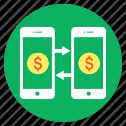 cash, dollar, mobile, money, shopping, transfer icon