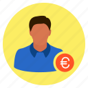 businessman, euro, finance, investor, money, salesman icon