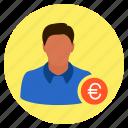 businessman, euro, finance, investor, money, salesman