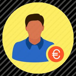 businessman, euro, finance, investor, money, salesman icon