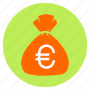 bag, bank, cash, euro, finance, money icon