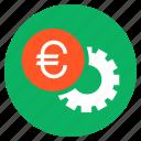 cash, euro, finance, money, settings, wheel