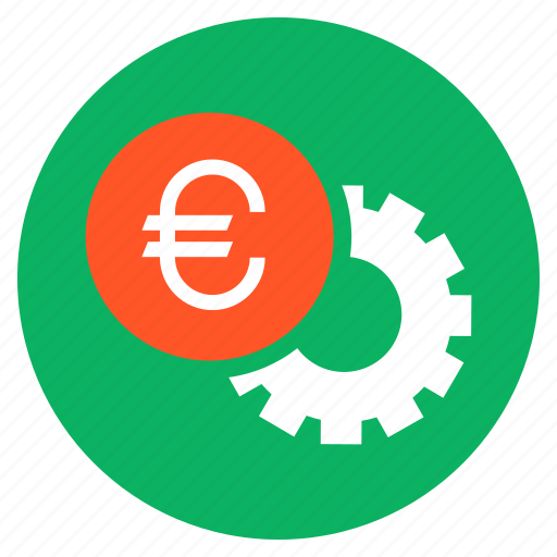 cash, euro, finance, money, settings, wheel icon