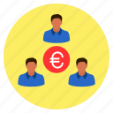 business, euro, finance, group, money, team icon