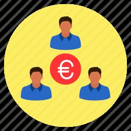 business, euro, finance, group, money, team icon