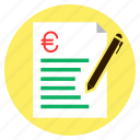 bill, euro, finance, loan, quotation