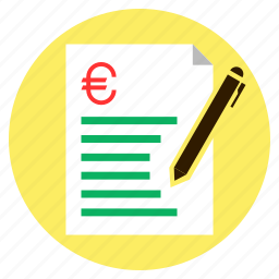 bill, euro, finance, loan, quotation icon