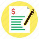 bill, dollar, finance, loan, quotation icon