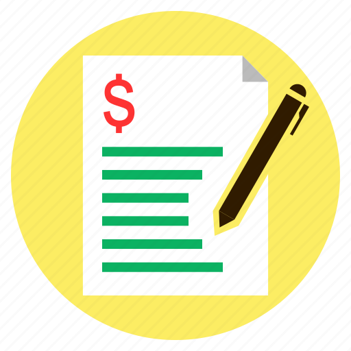 bill, dollar, finance, loan, quotation icon