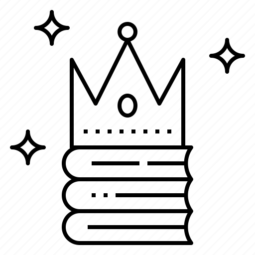book, crown, king, knowledge, reader icon