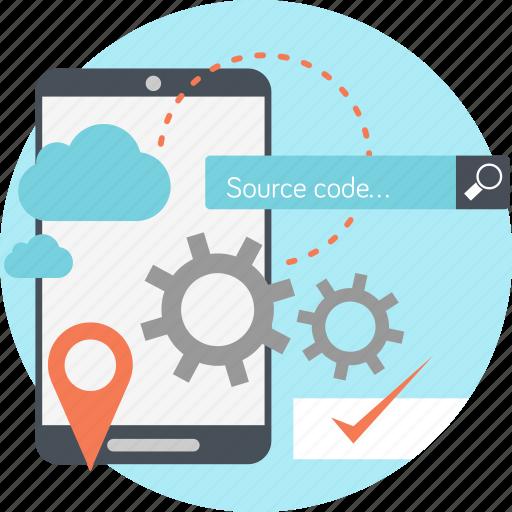 apps, builder, cloud, gear, handphone, navigation, search icon