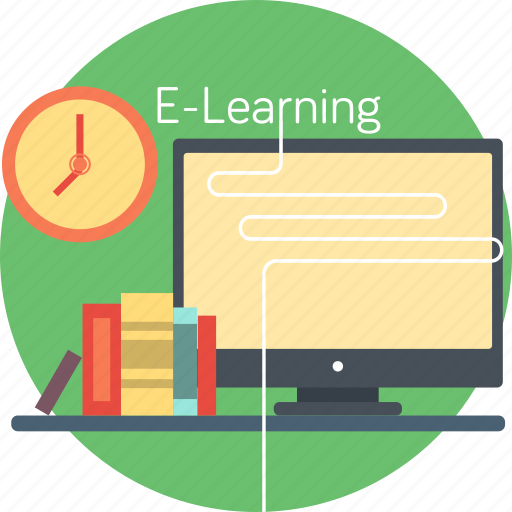 book, e-learning, internet, school, screen, studying, time icon