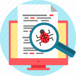 bug, code, debug, error, finding, search, virus icon