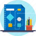 calculation, chart, data, diagram, flow, flowchart, logic