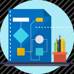 calculation, chart, data, diagram, flow, flowchart, logic icon