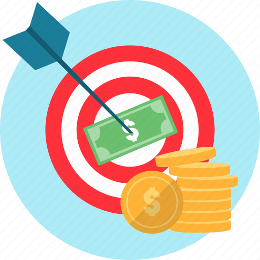 arrow, dart, goal, money, strategy, success, target icon