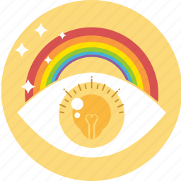 creativity, dream, eye, idea, imagination, innovation, rainbow icon