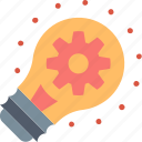 big, bulb, creative, gear, idea, light, solution icon