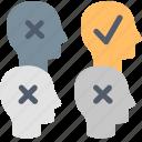 ideas, unique, best, brainstorming, choose, heads, solution icon
