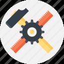 build, design, development, hammer, instrument, ruler, tool