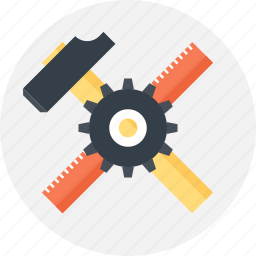 build, design, development, hammer, instrument, ruler, tool icon