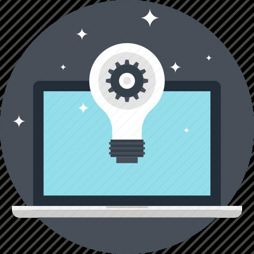 bulb, computer, creativity, energy, idea, laptop, light icon